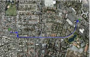 Distance: 0.9 mile. Walk time: 18 minutes.